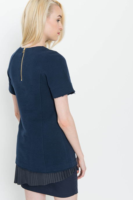 Derek Lam 10 Crosby 2 in 1 Sweatshirt Dress with Pleated Underpinning in Navy