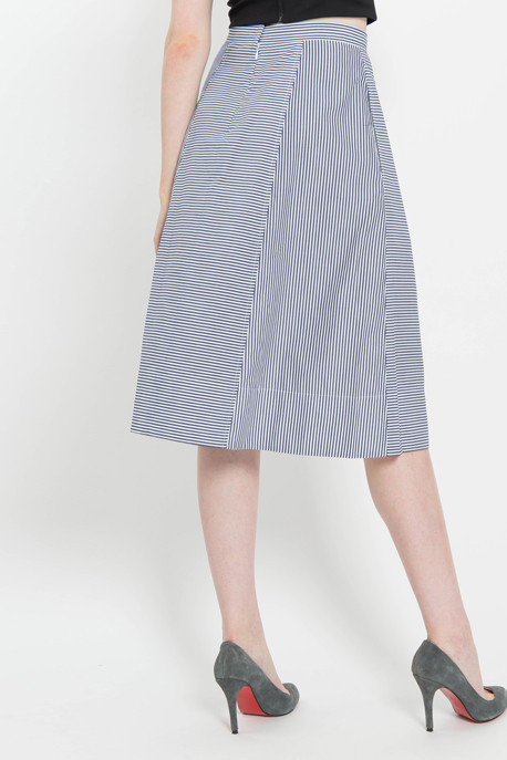 Full Skirt in Striped Shirting