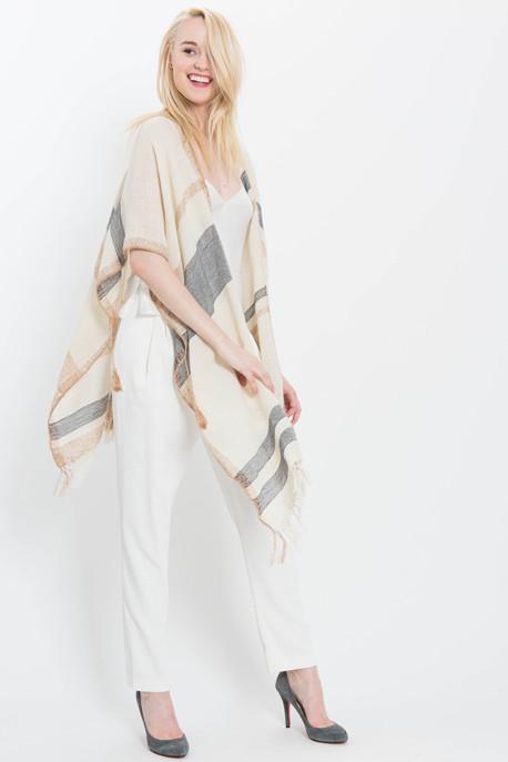 Metallic Striped Knit Poncho
