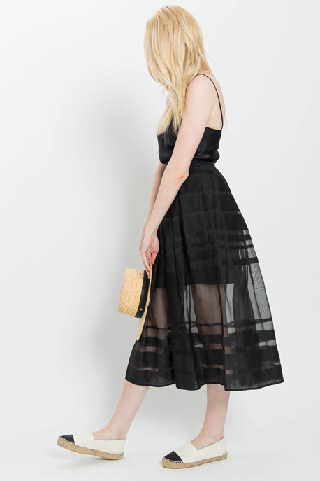 Tibi Midi Skirt with Striped Sheer Organza Panels