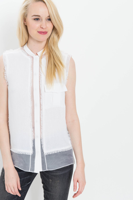Organza Linen Blouse with Fringe Detail
