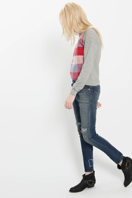 Plaid Paneled Sweatshirt