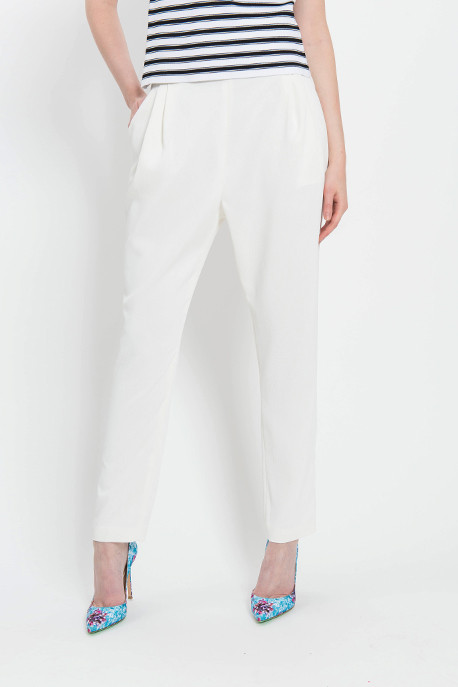 Pleated Track Pant in Ivory