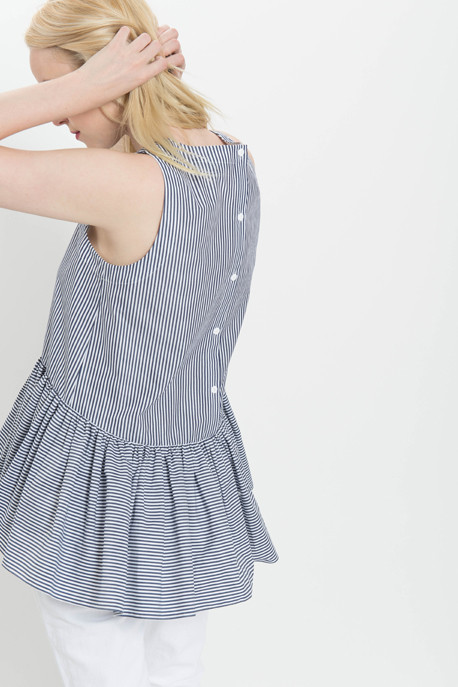 Striped Shirting Peplum Tank