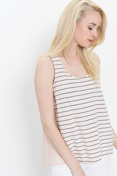 Striped Tank with Pleated Detail