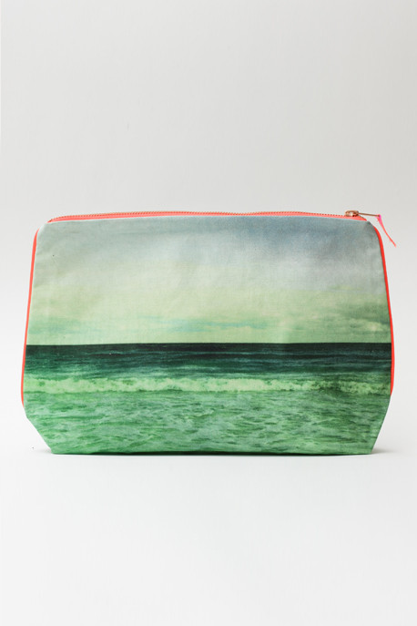 Dezso by Sara Beltran Emerald Waves Print Pouch