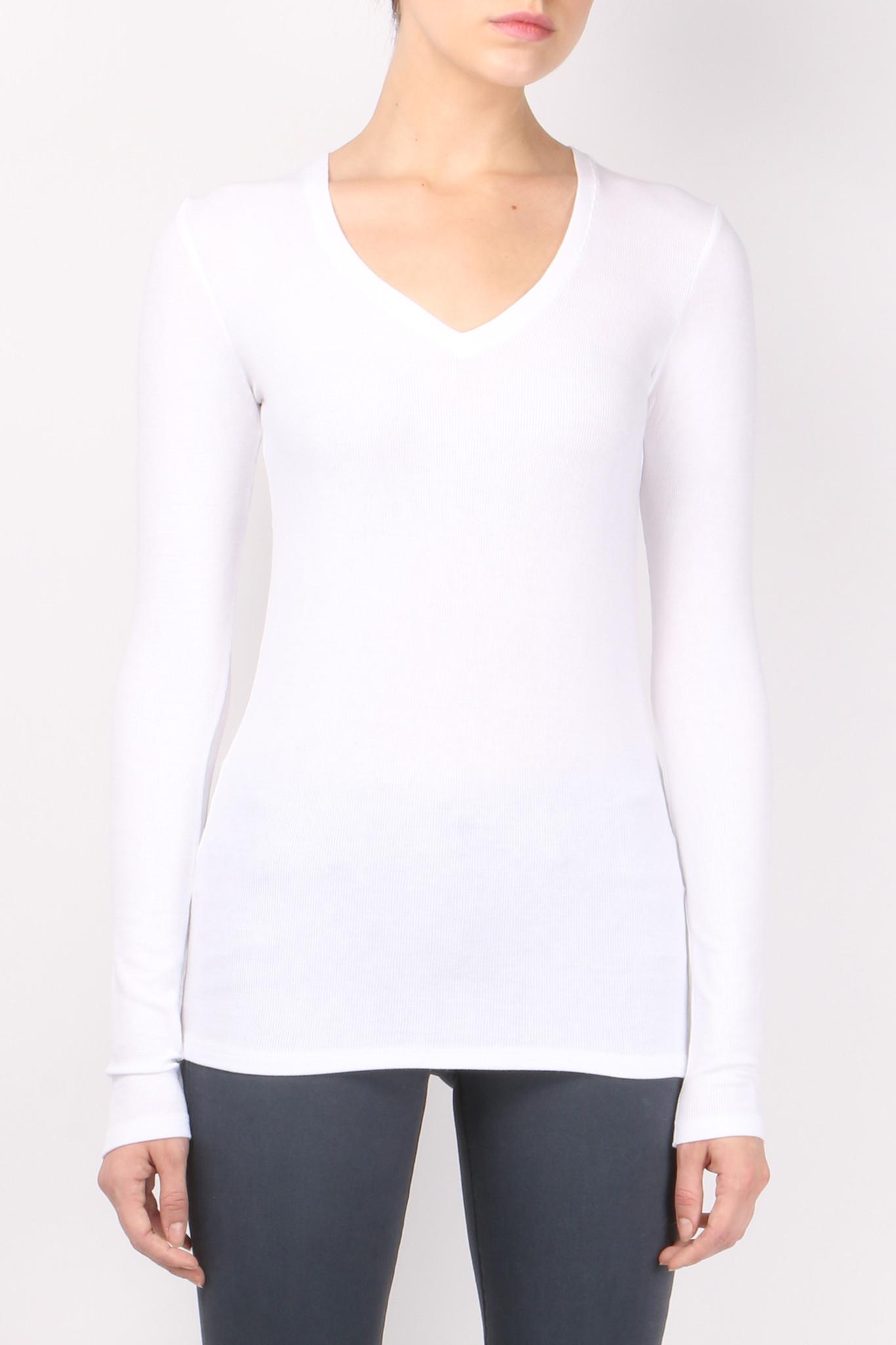 Atm long sleeve v neck rib shirt white from bocnyc for Long white v neck t shirt