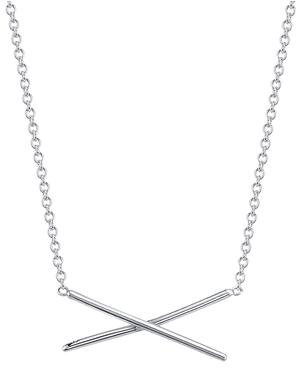 Gabriela Artigas 14k White Gold Subtle X Necklace
