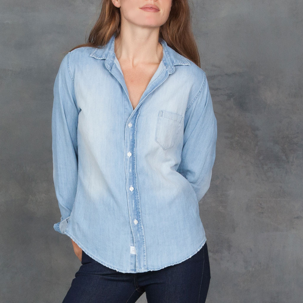 Frank and eileen barry stone washed indigo button down for Indigo button down shirt