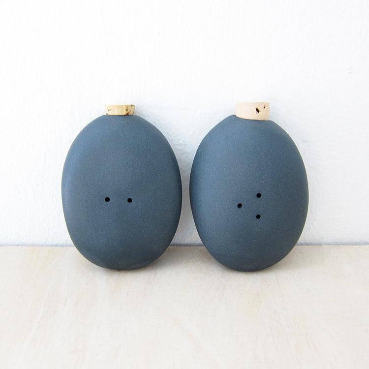 Pigeon Toe Ceramics Pebble Salt Pepper Shakers