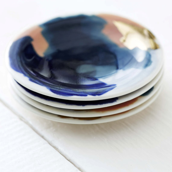 Redraven Studios Small Dipping Plates w/ 14K Gold Luster