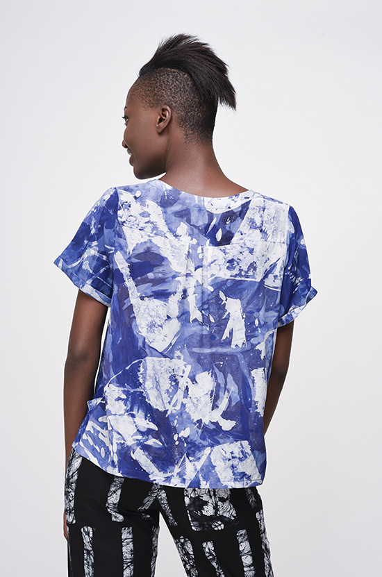 Osei-Duro Note T in Blue Abstract