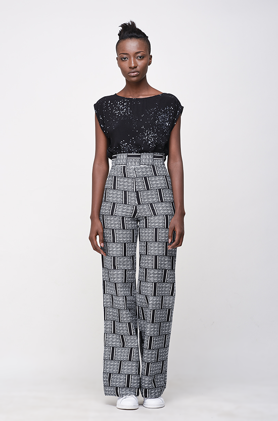 Osei-Duro Slant Trousers in Woven Waxprint