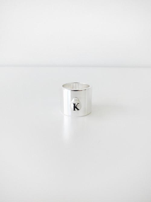 """Ann-Sofie Back """"K"""" Logo Pearl Ring"""