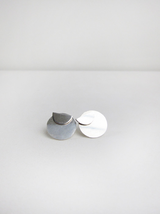 Kat Seale 2-Part Earrings Half Moon Circles