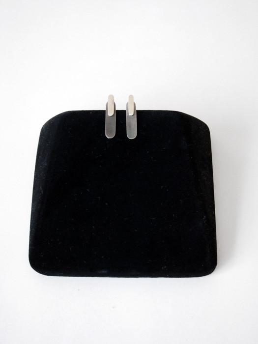 Kat Seale 2-Part Earrings Oblong in Sterling/ Steel