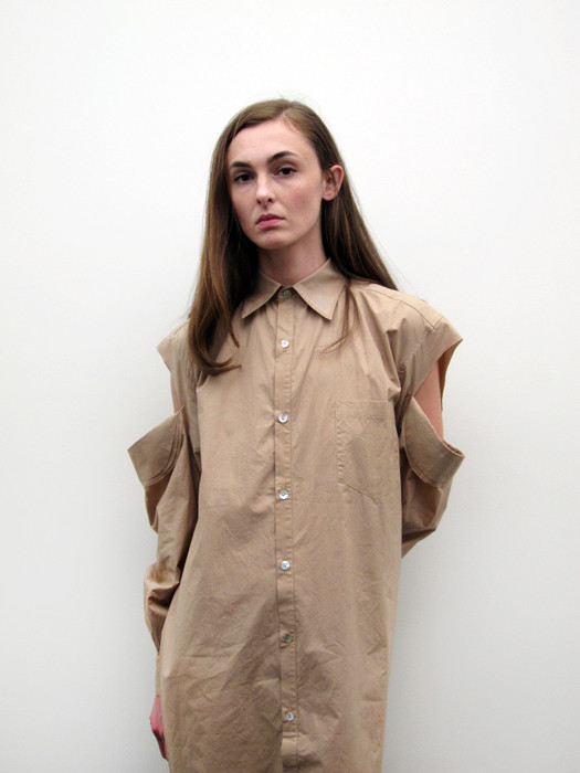 Nancy Stella Soto Button Up Shirtdress with Cut Sleeves, Bare