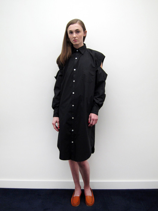 Nancy Stella Soto Button Up Shirtdress with Cut Sleeves, Black