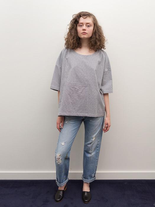 Rowena Sartin Oversize Pocket Shirt, Pinstripe