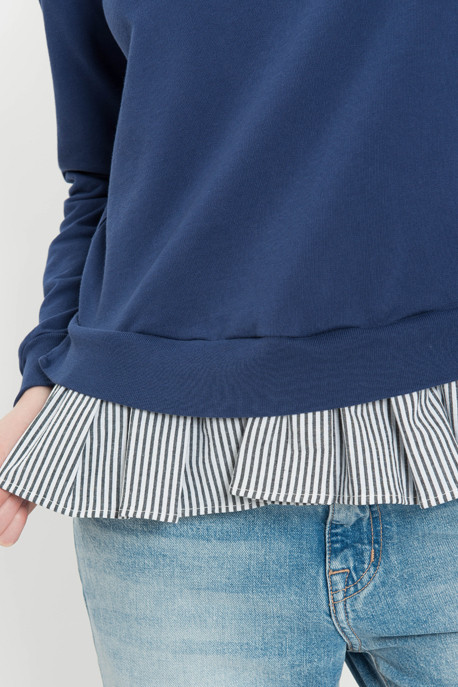 Tie-Back Ruffled Sweatshirt Top