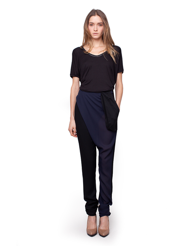 HARPUTS OWN DRAPE FRONT TWO TONE PANT