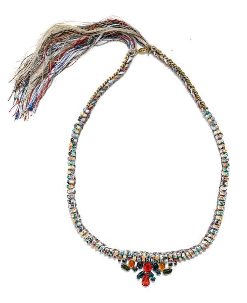 Alyssa Norton Double Handpainted Rhinestone Row Necklace with Rhinestone Drop