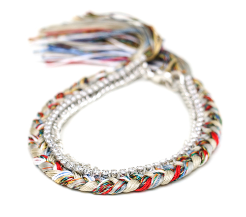 Alyssa Norton Multi Colored Silk Bracelet with Silver Chain and Clear Rhinestones
