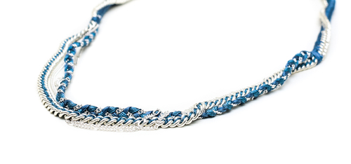 Alyssa Norton Silk Thread and Chain Necklace in Steel Blue and Silver