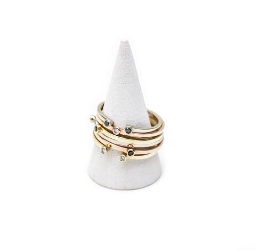 Gabriela Artigas Single Black Diamond Ring in Yellow Gold