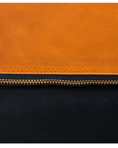 Clare Vivier Foldover Clutch in Two Tone Tan/Black