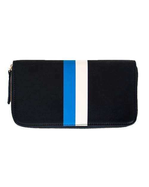 Clare Vivier Zip Wallet in Black with Blue/Cream Stripe