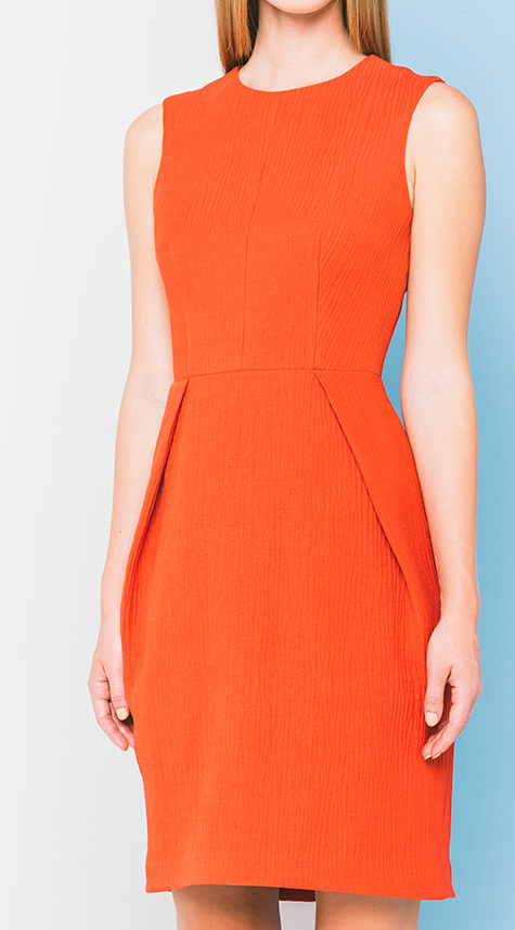 Obakki Textured Dress with Front Pleats