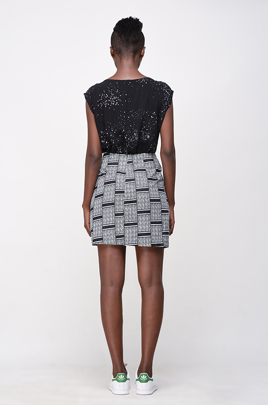 Osei-Duro Desine Skirt in Woven Wax Print