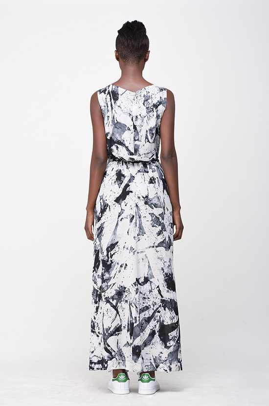 Osei-Duro Guise Maxi Dress in B&W Abstract