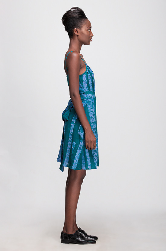 Osei-Duro Ovil Wrap Dress -Teal Parallel