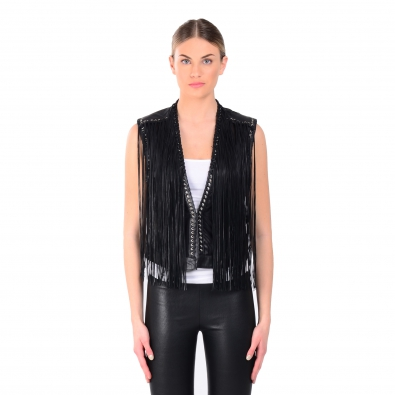 LAMARQUE Brittany Leather Fringed Vest