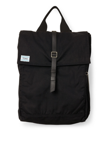 TOMS Black Waxed Canvas/Leather Backpack