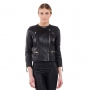 LAMARQUE Mae Basketweave Detail Leather Jacket