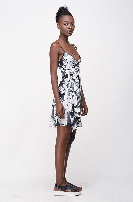 Osei-Duro Ovil Wrap Dress in B&W Abstract