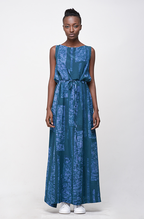 Osei-Duro Guise Maxi Dress in Teal Parallel