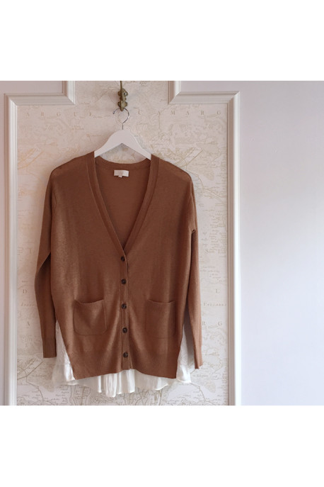 Clu Cashmere Cardigan with Lace and Satin Trim in Camel