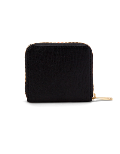J'apostrophe Black Pebbled Small Wallet with Gold Zipper
