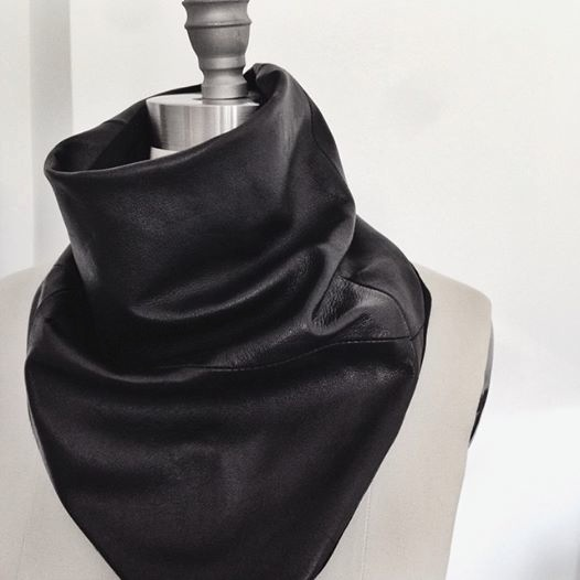 Leather and Knit Cowl Scarf