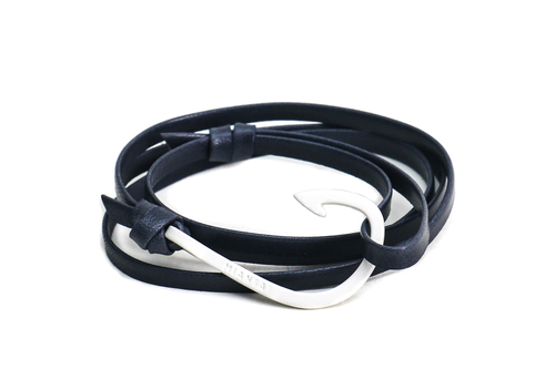 Miansai Bone White Fish Hook And Navy Leather Wrap Bracelet