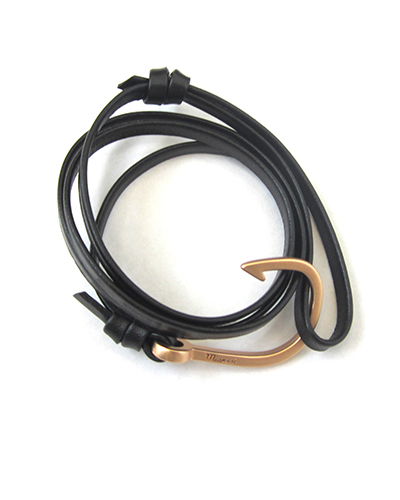 Miansai Matte Rose Gold Fish Hook And Black Leather Wrap Bracelet