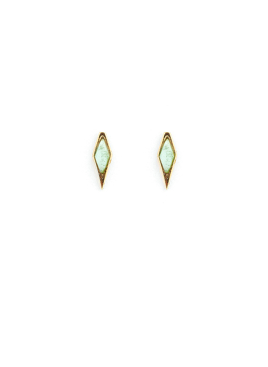 A Peace Treaty Tolo Stud Earrings with Chrysoprase