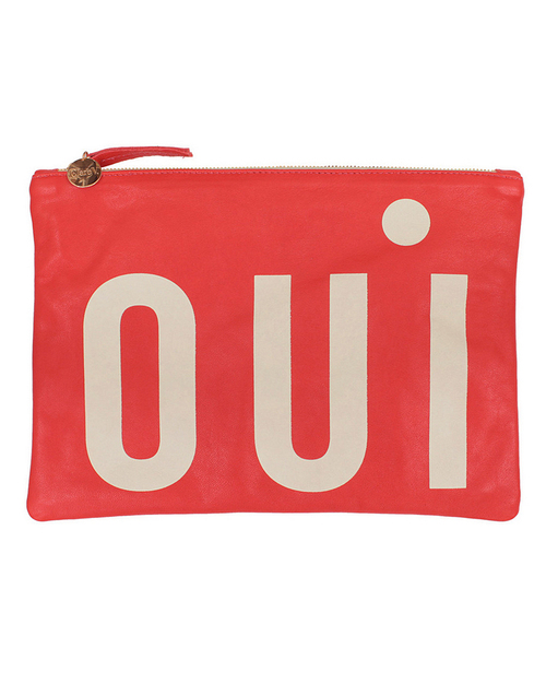 "Clare Vivier Flat ""Oui"" Clutch in Poppy Leather"