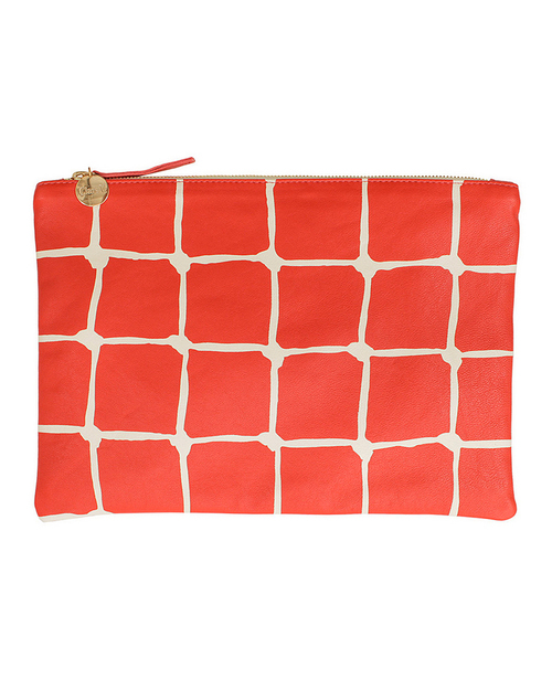 Clare V. Flat Clutch in Poppy and Cream Net Print Leather