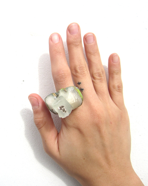 Adina Mills Green Crown Ring With Apophyllite Cluster