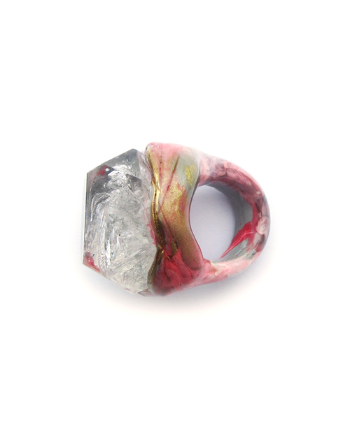 Adina Mills Pink Majestic Ring with Elestial Quartz